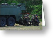 Armored Vehicles Greeting Cards - Infantry Soldiers Of The Belgian Army Greeting Card by Luc De Jaeger