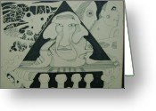 Pyramid Drawings Greeting Cards - Inner Vision Greeting Card by John Henry Martin