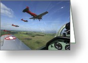 Control Greeting Cards - Inside The Pilatus Pc-7 Turboprop Greeting Card by Daniel Karlsson