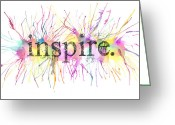 Gouache Mixed Media Greeting Cards - Inspire. Greeting Card by Kalie Hoodhood