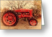 Old Postcards Greeting Cards - International Harvester McCormick Farmall Farm Tractor . 7D10320 Greeting Card by Wingsdomain Art and Photography
