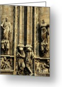 Religious Icon Greeting Cards - Intricate sculptures on the Milan Cathedral Greeting Card by Sami Sarkis