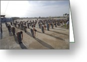 Color Bending Greeting Cards - Iraqi Police Cadets Being Trained Greeting Card by Andrew Chittock