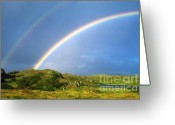 County Clare Greeting Cards - Irish Double Rainbow Greeting Card by John Greim