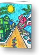Caribbean Art Pastels Greeting Cards - Island Market Greeting Card by William Depaula