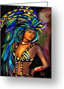Bright Drawings Greeting Cards - Its Carnival Time Greeting Card by Laura Fatta