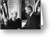 Lbj Greeting Cards - J. Robert Oppenheimer Greeting Card by Granger