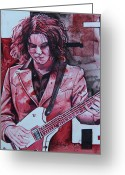 Red Drawings Greeting Cards - Jack White Greeting Card by Joshua Morton