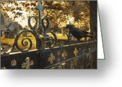 Deathly Greeting Cards - Jackdaw On Church Gates Greeting Card by Christopher Elwell and Amanda Haselock