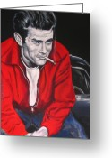 Without Greeting Cards - James Dean Put His Picture in a Picture Show Greeting Card by Eric Dee
