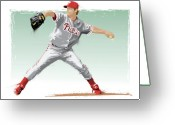 World Series Champion Greeting Cards - Jamie Moyer Greeting Card by Scott Weigner