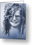 Robbi Musser Greeting Cards - Janis Joplin Greeting Card by Robbi  Musser