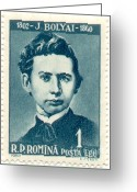 Postage Stamp Greeting Cards - Janos Bolyai, Hungarian Mathematician Greeting Card by Science Source