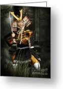 Warrior Greeting Cards - Japanese Samurai Doll Greeting Card by Christine Till - CT-Graphics
