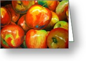Poster Mixed Media Greeting Cards - Jazz Apples Greeting Card by Dan Haraga
