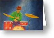 Musicians Glass Greeting Cards - Jazz Drummer Greeting Card by Pamela Allegretto