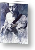 Realism Greeting Cards - Jazz Guitarist Rene Trossman  Greeting Card by Yuriy  Shevchuk