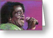 Brown Greeting Cards - Jazz. James Brown. Greeting Card by Yuriy  Shevchuk