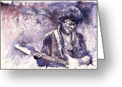 Jimi Hendrix Painting Greeting Cards - Jazz Rock Jimi Hendrix 03 Greeting Card by Yuriy  Shevchuk