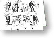 Bass Digital Art Greeting Cards - Jazz Greeting Card by Sean Hagan
