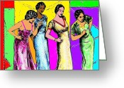 Grooving Greeting Cards - Jazzy Ladies Greeting Card by Mel Thompson