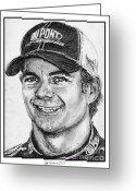 All Star Drawings Greeting Cards - Jeff Gordon in 2010 Greeting Card by J McCombie