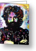 Dean Russo Greeting Cards - Jerry Garcia Greeting Card by Dean Russo