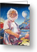 Hotel Greeting Cards - Jerry garcia Live at the Mars Hotel Greeting Card by Joshua Morton