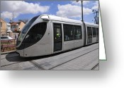 Public Transportation Greeting Cards - Jerusalem Mass Transport Light Train Greeting Card by Photostock-israel