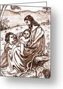 Jesus With Children Greeting Cards - Jesus and the Children Greeting Card by Norma Boeckler