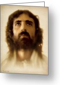 Face Greeting Cards - Jesus in Glory Greeting Card by Ray Downing