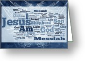 Vine Mixed Media Greeting Cards - Jesus Messiah 2 Greeting Card by Angelina Vick