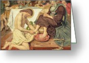 Disciples Greeting Cards - Jesus Washing Peters Feet Greeting Card by Ford Madox Brown