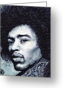 Music Greeting Cards - Jimi Hendrix Greeting Card by Tom Roderick