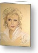 Person Pastels Greeting Cards - Joan Greeting Card by Nancy Rucker