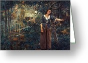 Saint Painting Greeting Cards - JOAN OF ARC c1412-1431 Greeting Card by Granger