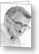 Coaching Greeting Cards - Joe Paterno Greeting Card by Pat Moore