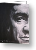 Celebrity Drawings Greeting Cards - Johnny Cash 2 Greeting Card by Eric Dee