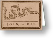 Flag Day Greeting Cards - Join or Die Greeting Card by War Is Hell Store