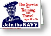 World War One Greeting Cards - Join The Navy Greeting Card by War Is Hell Store