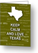 San Antonio Map Greeting Cards - Keep Calm and Love Texas State Map City Typography Greeting Card by Keith Webber Jr