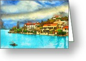 Travel Drawings Greeting Cards - Kefalonia Fiscardo Greeting Card by George Rossidis