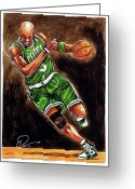 Kg Greeting Cards - Kevin Garnett Greeting Card by Dave Olsen