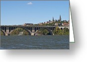 Potomac River Greeting Cards - Key Bridge over the Potomac River Greeting Card by Brendan Reals