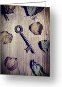 Wooden Board Greeting Cards - Key Greeting Card by Joana Kruse