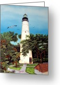 Location Art Greeting Cards - Key West Lighthouse Greeting Card by Riley Geddings