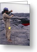Big Island Greeting Cards - Kilauea Volcano Research, Hawaii Greeting Card by G. Brad Lewis