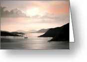 Co Galway Greeting Cards - Killary Sunset Greeting Card by Cathal O malley