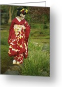 Hairstyles Greeting Cards - Kimono-clad Geisha In A Park Greeting Card by Justin Guariglia