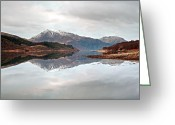 Loch Greeting Cards - Kinlochleven mountain reflection Greeting Card by Grant Glendinning